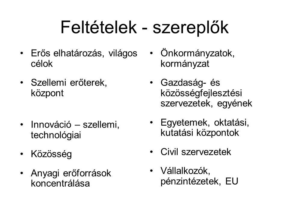 Feltételek - szereplők Erős elhatározás, világos célok Szellemi erőterek, központ Innováció – szellemi, technológiai Közösség Anyagi erőforrások koncentrálása Önkormányzatok, kormányzat Gazdaság- és közösségfejlesztési szervezetek, egyének Egyetemek, oktatási, kutatási központok Civil szervezetek Vállalkozók, pénzintézetek, EU