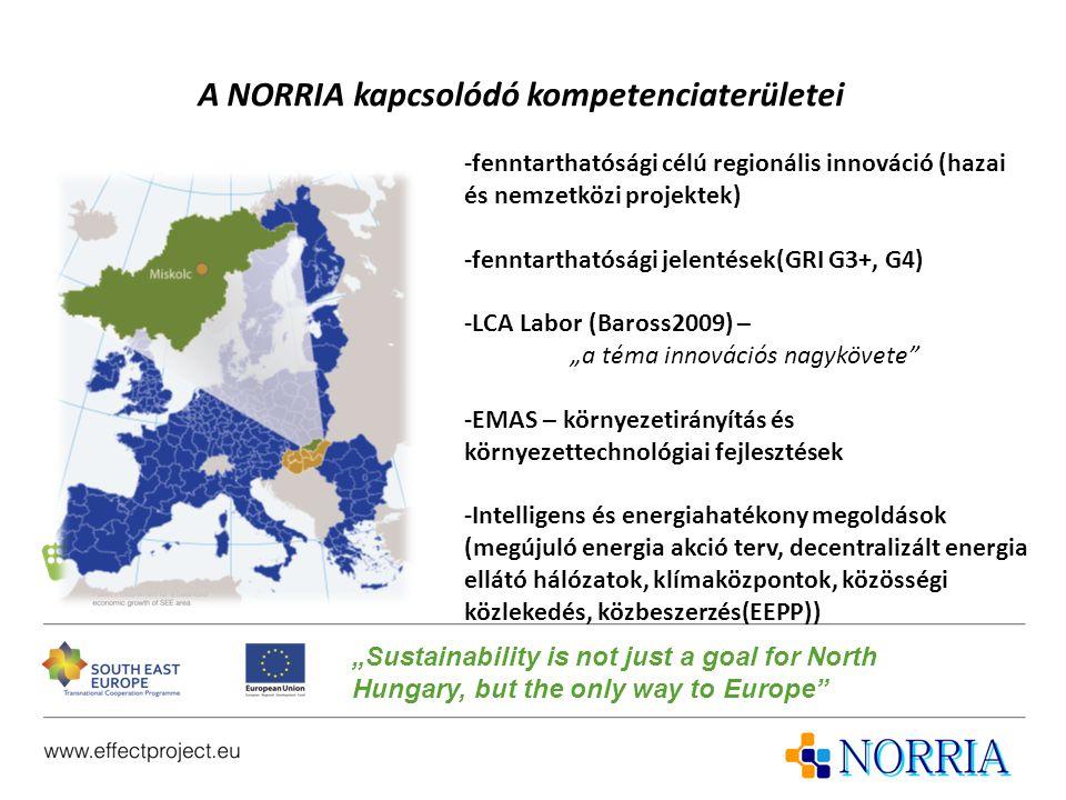 """A NORRIA kapcsolódó kompetenciaterületei -fenntarthatósági célú regionális innováció (hazai és nemzetközi projektek) -fenntarthatósági jelentések(GRI G3+, G4) -LCA Labor (Baross2009) – """"a téma innovációs nagykövete -EMAS – környezetirányítás és környezettechnológiai fejlesztések -Intelligens és energiahatékony megoldások (megújuló energia akció terv, decentralizált energia ellátó hálózatok, klímaközpontok, közösségi közlekedés, közbeszerzés(EEPP)) """"Sustainability is not just a goal for North Hungary, but the only way to Europe"""