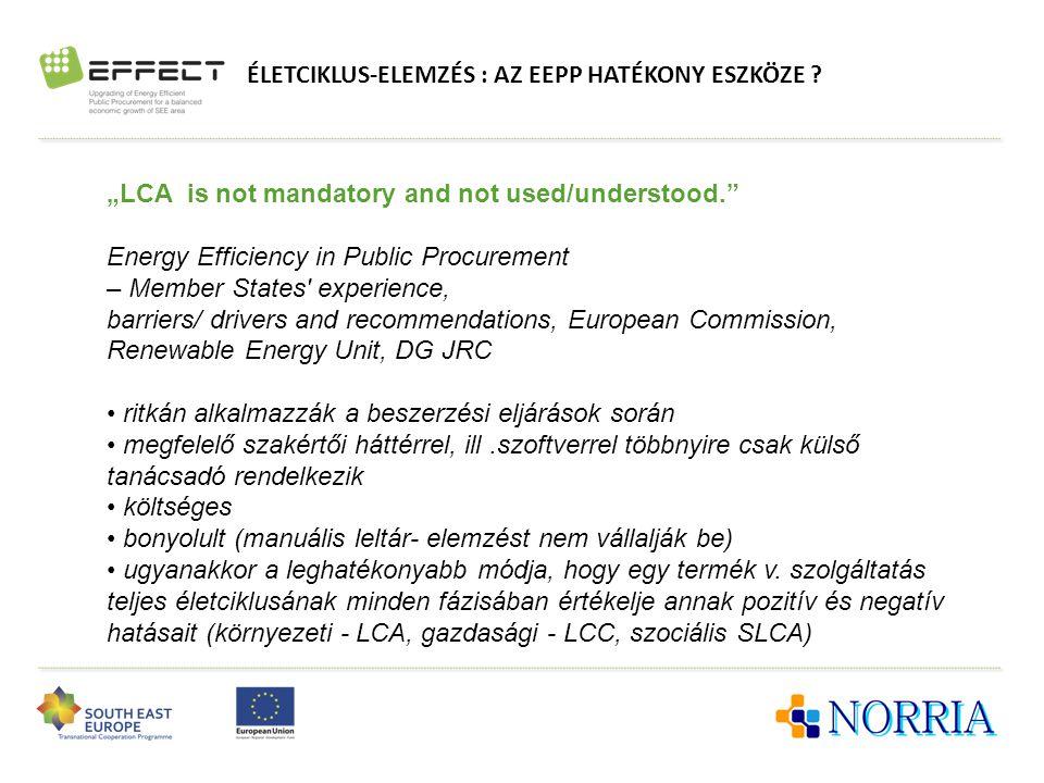 """ÉLETCIKLUS-ELEMZÉS : AZ EEPP HATÉKONY ESZKÖZE ? """"LCA is not mandatory and not used/understood."""" Energy Efficiency in Public Procurement – Member State"""
