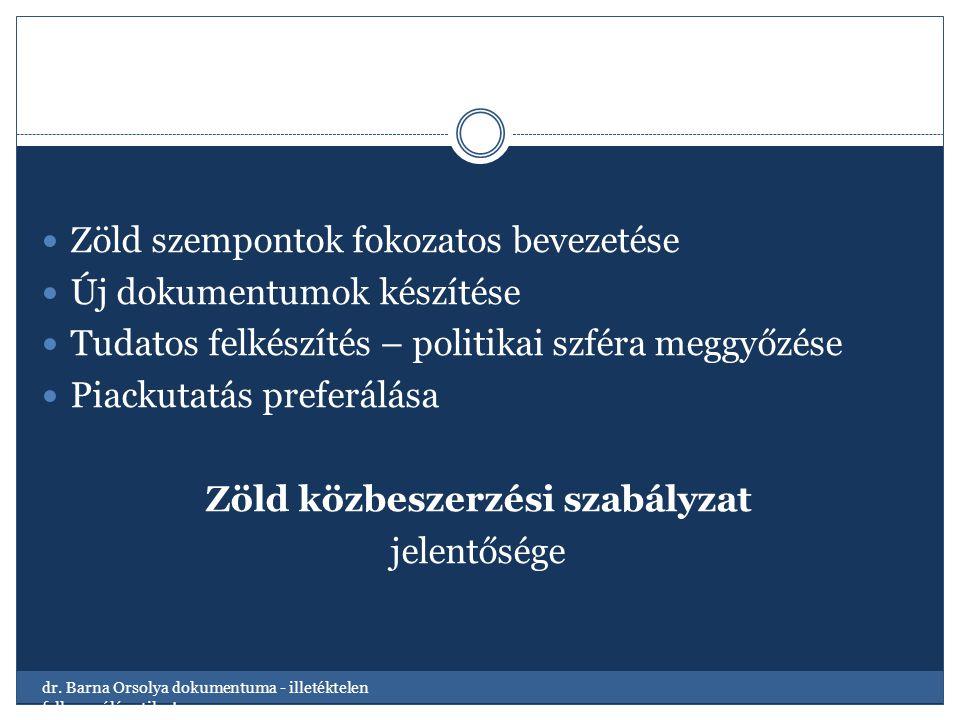 Zöld szempontok fokozatos bevezetése Új dokumentumok készítése Tudatos felkészítés – politikai szféra meggyőzése Piackutatás preferálása Zöld közbeszerzési szabályzat jelentősége dr.