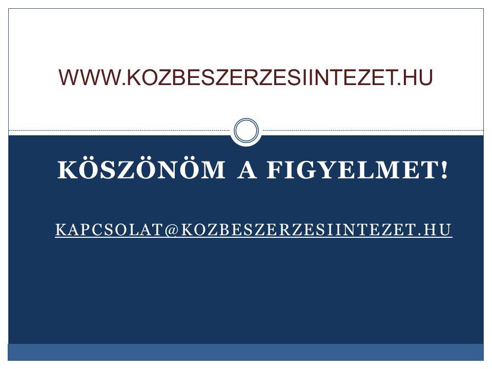 KÖSZÖNÖM A FIGYELMET! KAPCSOLAT@KOZBESZERZESIINTEZET.HU WWW.KOZBESZERZESIINTEZET.HU