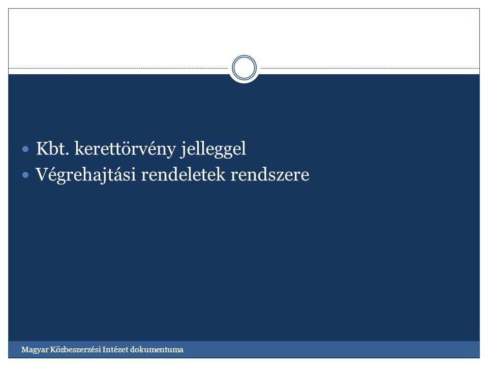 Kbt. kerettörvény jelleggel Végrehajtási rendeletek rendszere Magyar Közbeszerzési Intézet dokumentuma