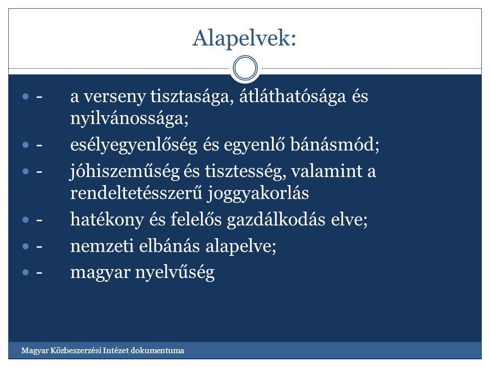 Alapelvek: -a verseny tisztasága, átláthatósága és nyilvánossága; -esélyegyenlőség és egyenlő bánásmód; -jóhiszeműség és tisztesség, valamint a rendeltetésszerű joggyakorlás -hatékony és felelős gazdálkodás elve; -nemzeti elbánás alapelve; - magyar nyelvűség Magyar Közbeszerzési Intézet dokumentuma