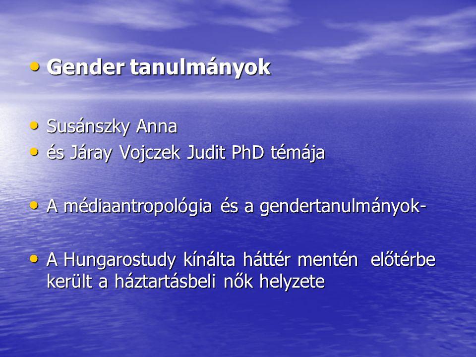 Gender tanulmányok Gender tanulmányok Susánszky Anna Susánszky Anna és Járay Vojczek Judit PhD témája és Járay Vojczek Judit PhD témája A médiaantropológia és a gendertanulmányok- A médiaantropológia és a gendertanulmányok- A Hungarostudy kínálta háttér mentén előtérbe került a háztartásbeli nők helyzete A Hungarostudy kínálta háttér mentén előtérbe került a háztartásbeli nők helyzete