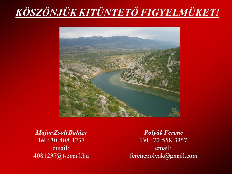 KÖSZÖNJÜK KITÜNTETŐ FIGYELMÜKET! Major Zsolt Balázs Tel.: 30-408-1237 email: 4081237@t-email.hu Polyák Ferenc Tel.: 70-558-3357 email: ferencpolyak@gm