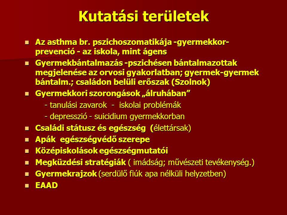 Kutatási területek Az asthma br. pszichoszomatikája -gyermekkor- prevenció - az iskola, mint ágens Az asthma br. pszichoszomatikája -gyermekkor- preve