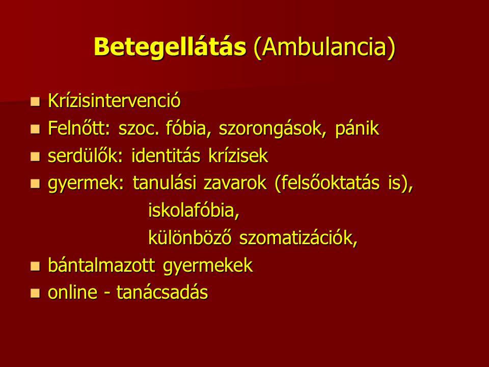 Betegellátás (Ambulancia) Krízisintervenció Krízisintervenció Felnőtt: szoc. fóbia, szorongások, pánik Felnőtt: szoc. fóbia, szorongások, pánik serdül