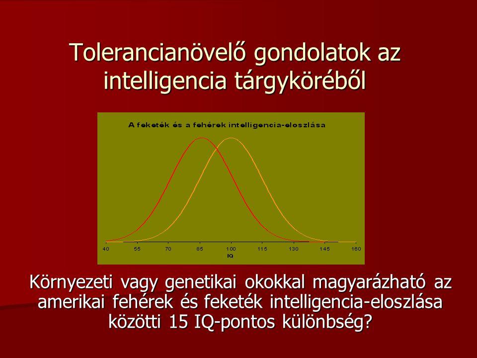 Tolerancianövelő gondolatok az intelligencia tárgyköréből Környezeti vagy genetikai okokkal magyarázható az amerikai fehérek és feketék intelligencia-eloszlása közötti 15 IQ-pontos különbség?