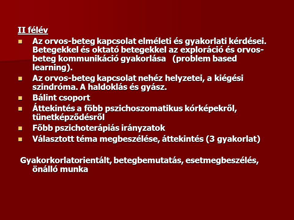 Oktató betegek bevonása 1994-től együttműködés a Maastrichti Egyetemmel 1994-től együttműködés a Maastrichti Egyetemmel Probléma központú oktatás- orvos-beteg találkozás Probléma központú oktatás- orvos-beteg találkozás Oktató betegek képzése- skriptek Oktató betegek képzése- skriptek Értékelési szempontok Értékelési szempontok Nem a diagnózis, hanem a kommunikáció tanítása a cél Nem a diagnózis, hanem a kommunikáció tanítása a cél