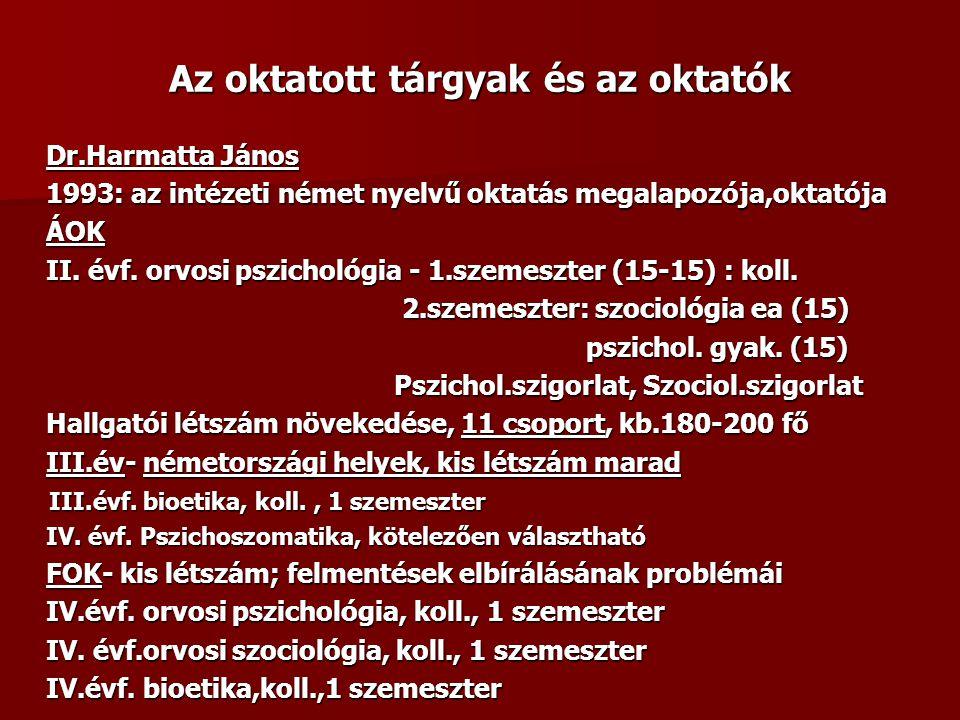 Az oktatott tárgyak és az oktatók Dr.Harmatta János 1993: az intézeti német nyelvű oktatás megalapozója,oktatója ÁOK II. évf. orvosi pszichológia - 1.