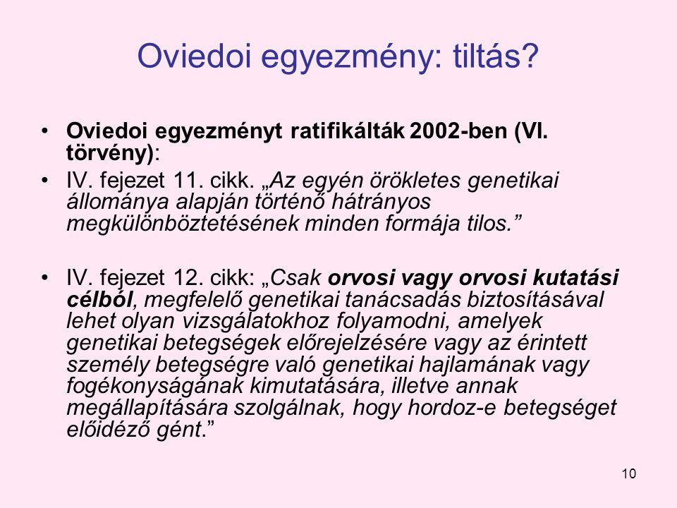 10 Oviedoi egyezmény: tiltás. Oviedoi egyezményt ratifikálták 2002-ben (VI.