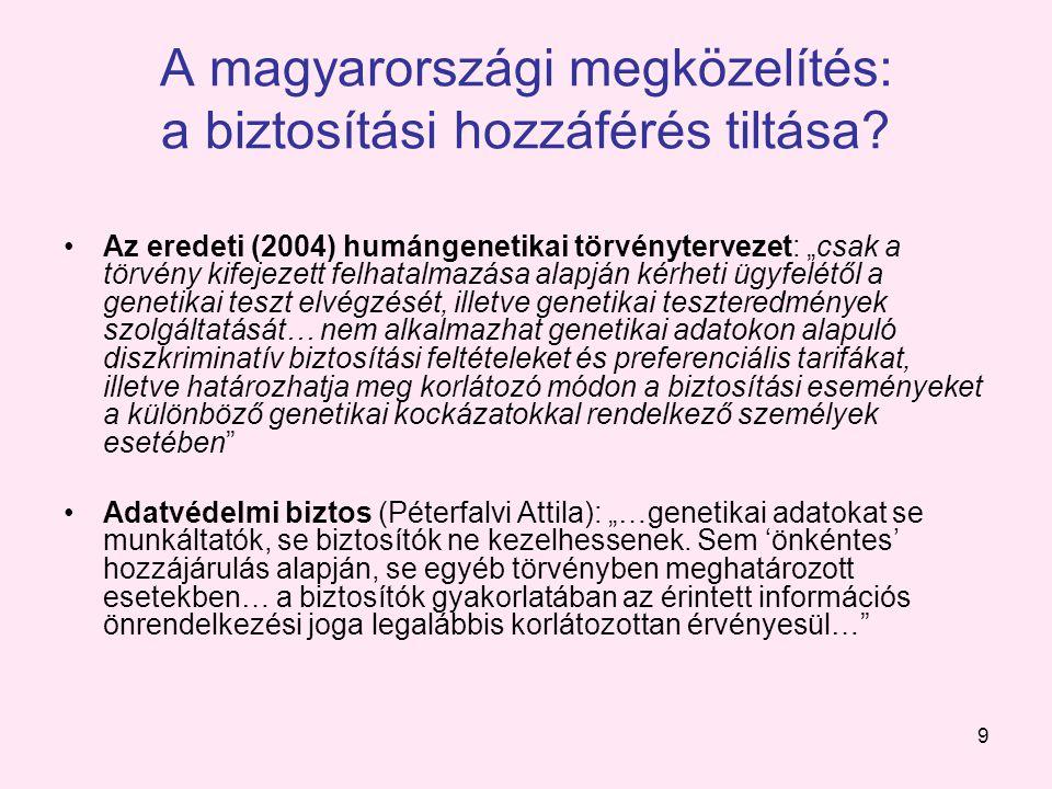9 A magyarországi megközelítés: a biztosítási hozzáférés tiltása.