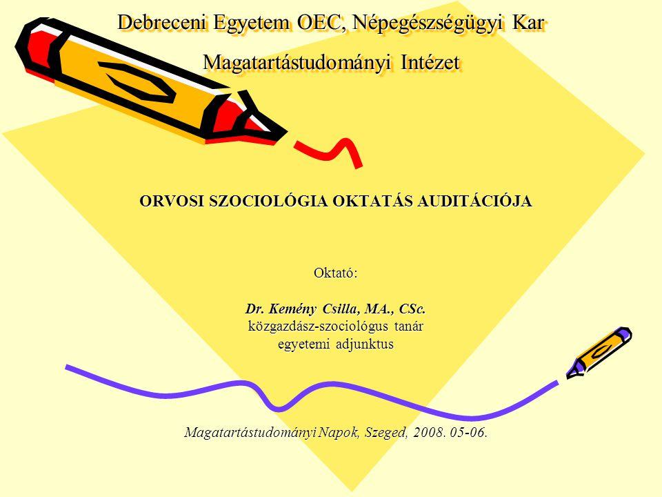 TANTÁRGYAK, PROGRAMOK Orvosi Szociológia Szociológia – Szociálpolitika Egészségszociológia - - - - - - - - - - - - - - - - - - - Minőségbiztosítás Betegelégedettség/Betegbiztonság