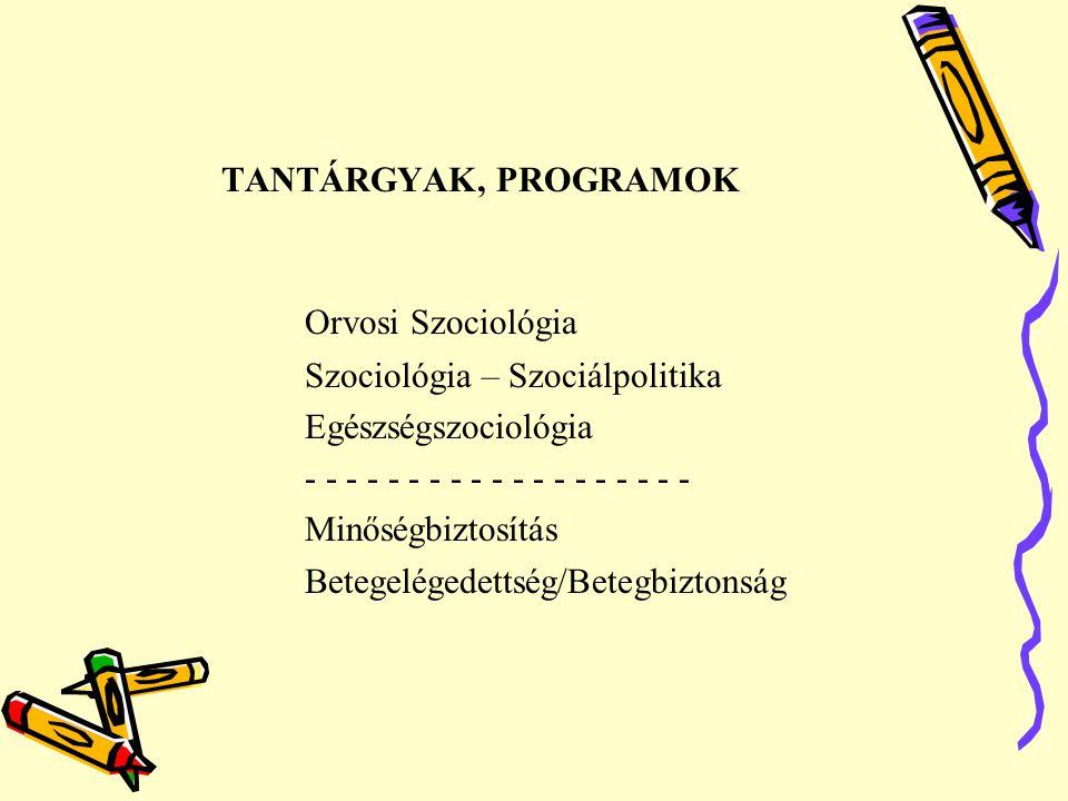 TANTÁRGYAK, PROGRAMOK Orvosi Szociológia Szociológia – Szociálpolitika Egészségszociológia - - - - - - - - - - - - - - - - - - - Minőségbiztosítás Bet