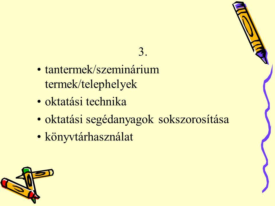 3. tantermek/szeminárium termek/telephelyek oktatási technika oktatási segédanyagok sokszorosítása könyvtárhasználat