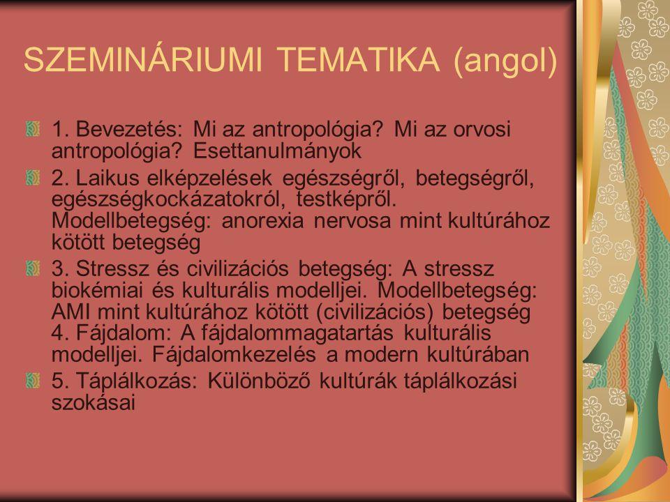 SZEMINÁRIUMI TEMATIKA (angol) 1.Bevezetés: Mi az antropológia.