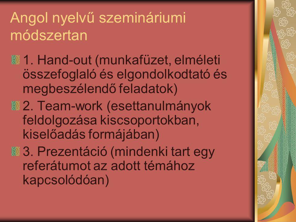 Angol nyelvű szemináriumi módszertan 1.