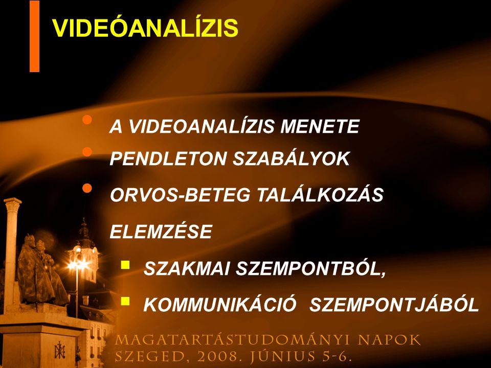 A VIDEOANALÍZIS MENETE PENDLETON SZABÁLYOK ORVOS-BETEG TALÁLKOZÁS ELEMZÉSE SSZAKMAI SZEMPONTBÓL, KKOMMUNIKÁCIÓ SZEMPONTJÁBÓL VIDEÓANALÍZIS