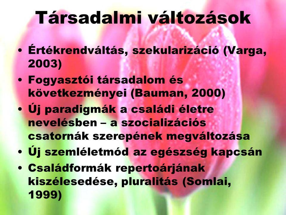Társadalmi változások Értékrendváltás, szekularizáció (Varga, 2003) Fogyasztói társadalom és következményei (Bauman, 2000) Új paradigmák a családi életre nevelésben – a szocializációs csatornák szerepének megváltozása Új szemléletmód az egészség kapcsán Családformák repertoárjának kiszélesedése, pluralitás (Somlai, 1999)