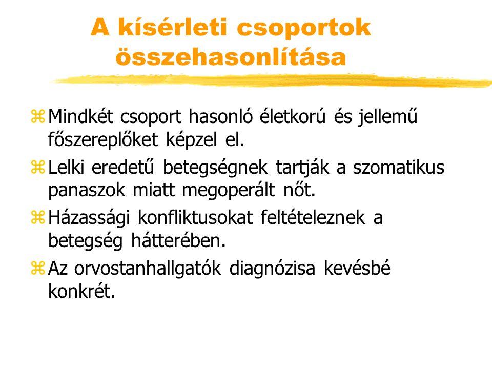 A kísérleti csoportok összehasonlítása zMindkét csoport hasonló életkorú és jellemű főszereplőket képzel el. zLelki eredetű betegségnek tartják a szom