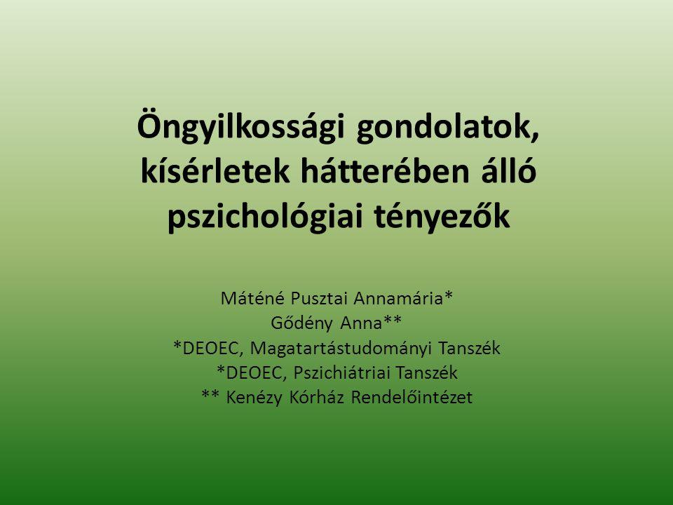 Öngyilkossági gondolatok, kísérletek hátterében álló pszichológiai tényezők Máténé Pusztai Annamária* Gődény Anna** *DEOEC, Magatartástudományi Tanszé