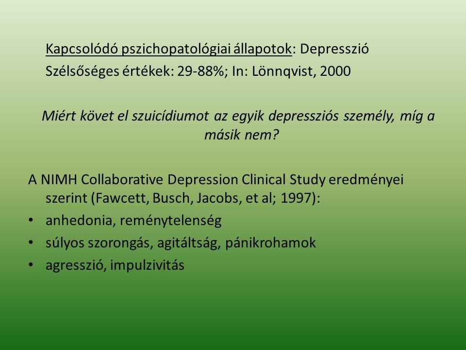 Kapcsolódó pszichopatológiai állapotok: Depresszió Szélsőséges értékek: 29-88%; In: Lönnqvist, 2000 Miért követ el szuicídiumot az egyik depressziós s