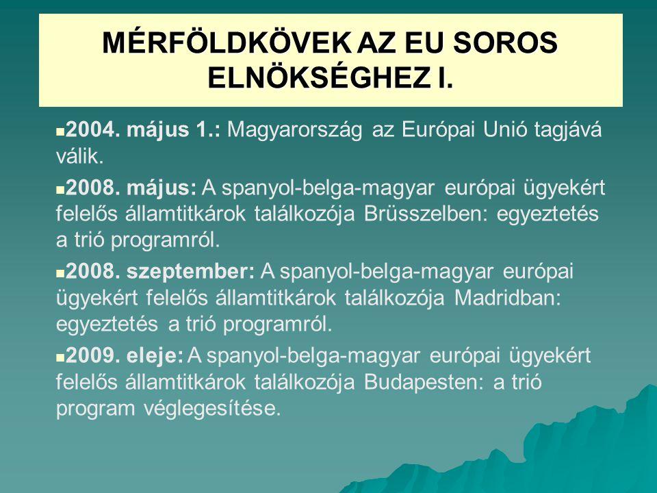 MÉRFÖLDKÖVEK AZ EU SOROS ELNÖKSÉGHEZ I.2004. május 1.: Magyarország az Európai Unió tagjává válik.