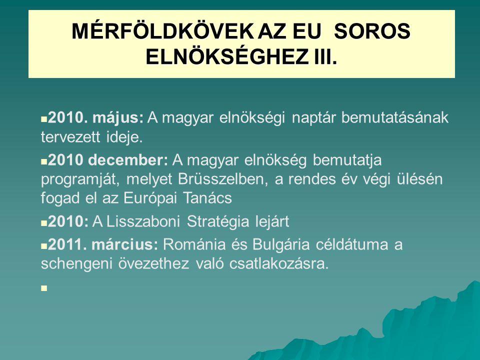 MÉRFÖLDKÖVEK AZ EU SOROS ELNÖKSÉGHEZ III.2010.