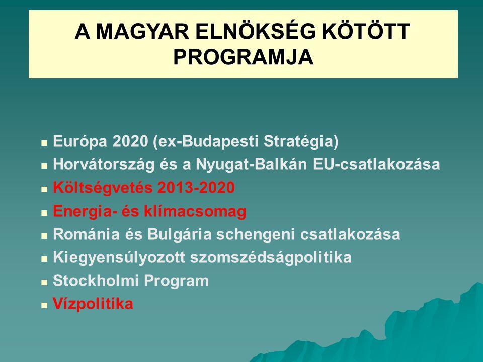 A MAGYAR ELNÖKSÉG KÖTÖTT PROGRAMJA Európa 2020 (ex-Budapesti Stratégia) Horvátország és a Nyugat-Balkán EU-csatlakozása Költségvetés 2013-2020 Energia- és klímacsomag Románia és Bulgária schengeni csatlakozása Kiegyensúlyozott szomszédságpolitika Stockholmi Program Vízpolitika