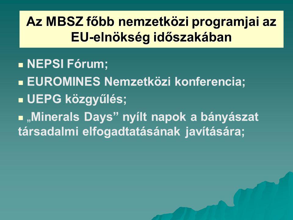 """Az MBSZ főbb nemzetközi programjai az EU-elnökség időszakában NEPSI Fórum; EUROMINES Nemzetközi konferencia; UEPG közgyűlés; """"Minerals Days nyílt napok a bányászat társadalmi elfogadtatásának javítására;"""