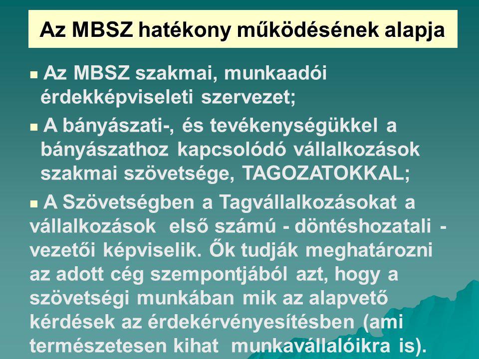 Az MBSZ hatékony működésének alapja Az MBSZ szakmai, munkaadói érdekképviseleti szervezet; A bányászati-, és tevékenységükkel a bányászathoz kapcsolódó vállalkozások szakmai szövetsége, TAGOZATOKKAL; A Szövetségben a Tagvállalkozásokat a vállalkozások első számú - döntéshozatali - vezetői képviselik.