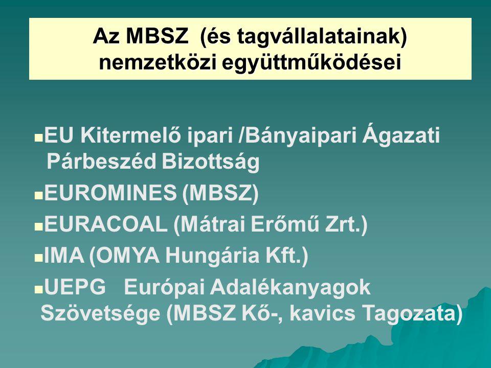 Az MBSZ (és tagvállalatainak) nemzetközi együttműködései EU Kitermelő ipari /Bányaipari Ágazati Párbeszéd Bizottság EUROMINES (MBSZ) EURACOAL (Mátrai Erőmű Zrt.) IMA (OMYA Hungária Kft.) UEPG Európai Adalékanyagok Szövetsége (MBSZ Kő-, kavics Tagozata)