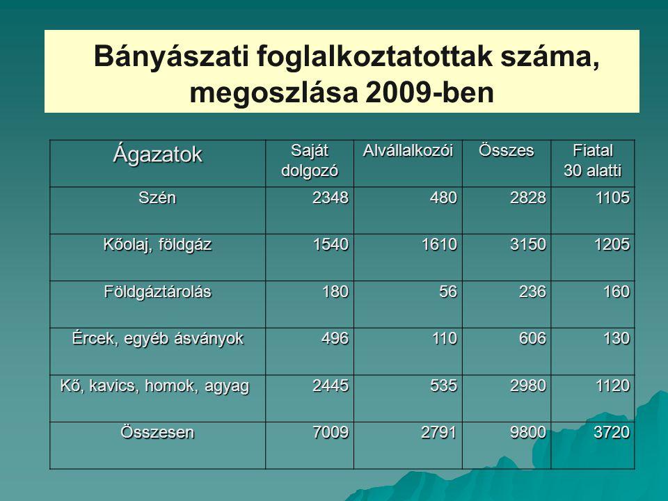 Bányászati foglalkoztatottak száma, megoszlása 2009-benÁgazatok Saját dolgozó AlvállalkozóiÖsszesFiatal 30 alatti Szén234848028281105 Kőolaj, földgáz 1540161031501205 Földgáztárolás18056236160 Ércek, egyéb ásványok 496110606130 Kő, kavics, homok, agyag Kő, kavics, homok, agyag244553529801120 Összesen7009279198003720