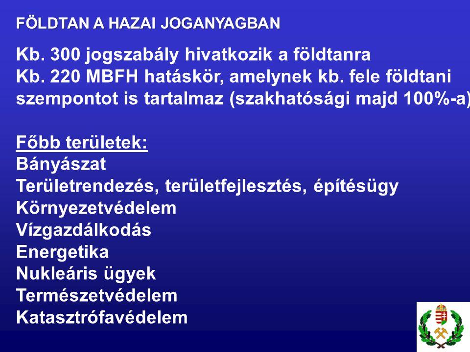 FÖLDTAN A HAZAI JOGANYAGBAN Kb. 300 jogszabály hivatkozik a földtanra Kb. 220 MBFH hatáskör, amelynek kb. fele földtani szempontot is tartalmaz (szakh
