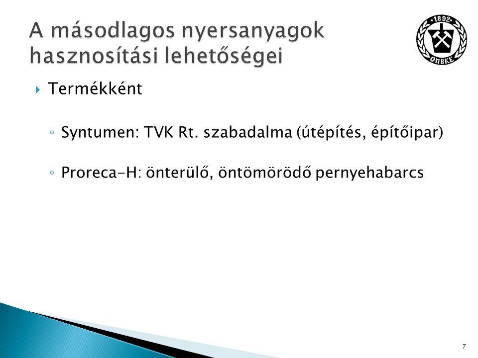 Termékként ◦ Syntumen: TVK Rt.