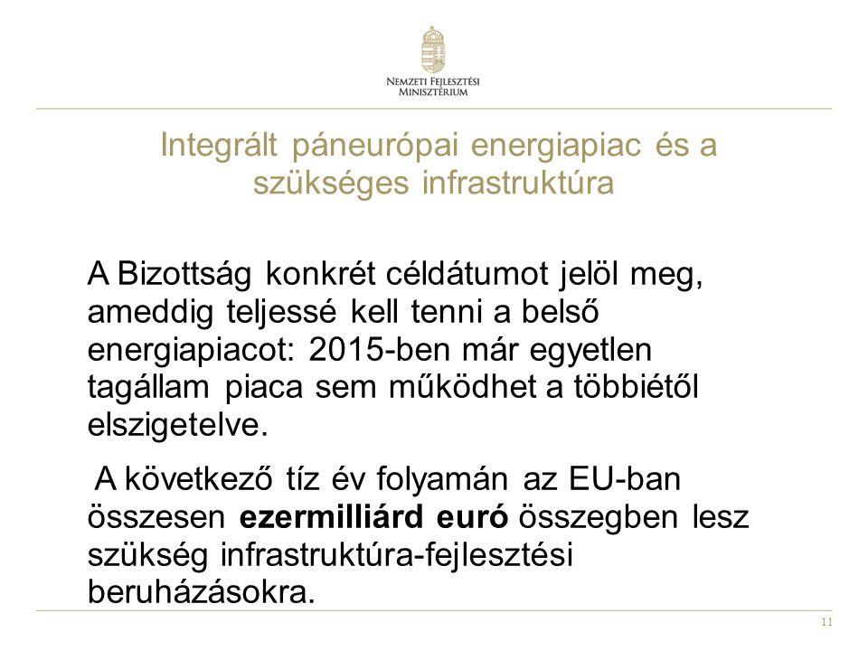 11 Integrált páneurópai energiapiac és a szükséges infrastruktúra A Bizottság konkrét céldátumot jelöl meg, ameddig teljessé kell tenni a belső energiapiacot: 2015-ben már egyetlen tagállam piaca sem működhet a többiétől elszigetelve.