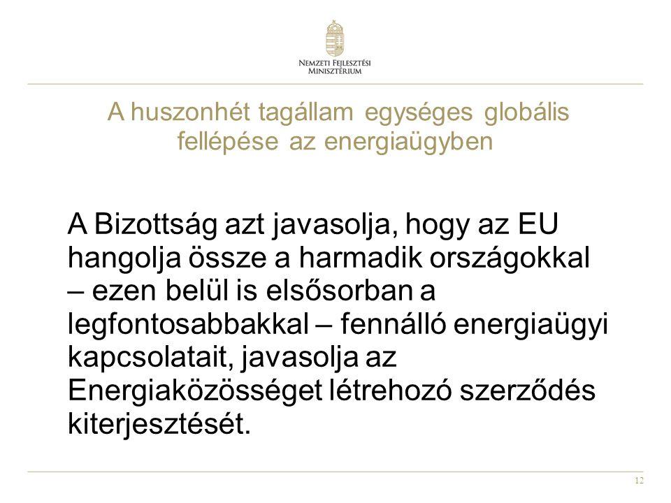 12 A huszonhét tagállam egységes globális fellépése az energiaügyben A Bizottság azt javasolja, hogy az EU hangolja össze a harmadik országokkal – ezen belül is elsősorban a legfontosabbakkal – fennálló energiaügyi kapcsolatait, javasolja az Energiaközösséget létrehozó szerződés kiterjesztését.