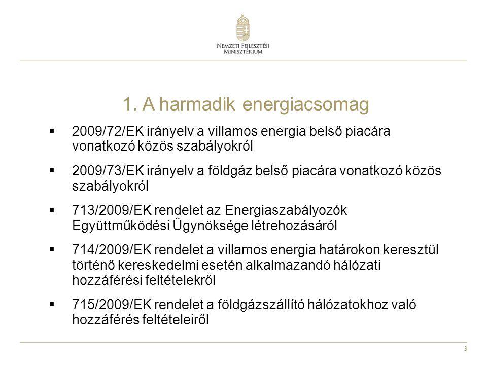 3 1. A harmadik energiacsomag  2009/72/EK irányelv a villamos energia belső piacára vonatkozó közös szabályokról  2009/73/EK irányelv a földgáz bels