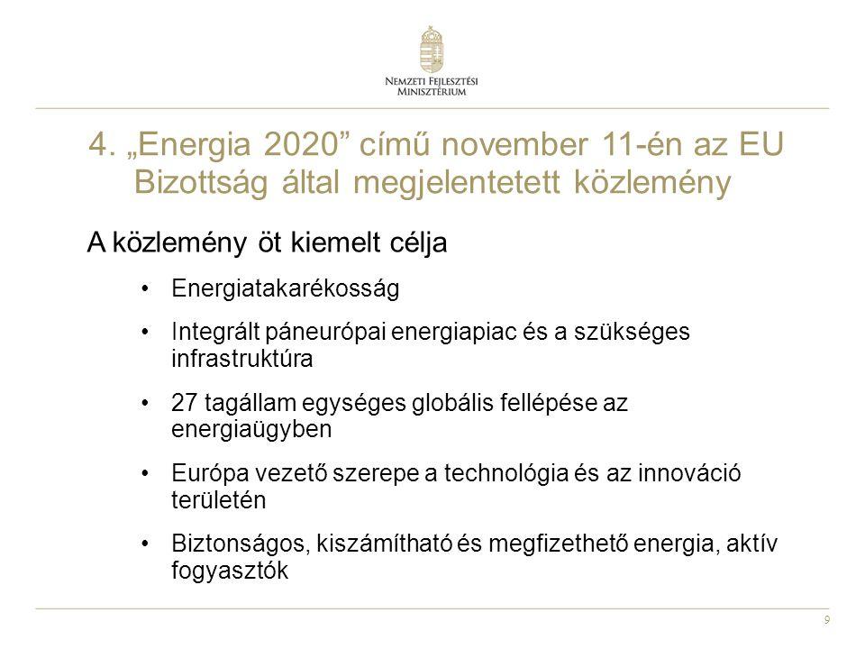 """9 4. """"Energia 2020"""" című november 11-én az EU Bizottság által megjelentetett közlemény A közlemény öt kiemelt célja Energiatakarékosság Integrált páne"""