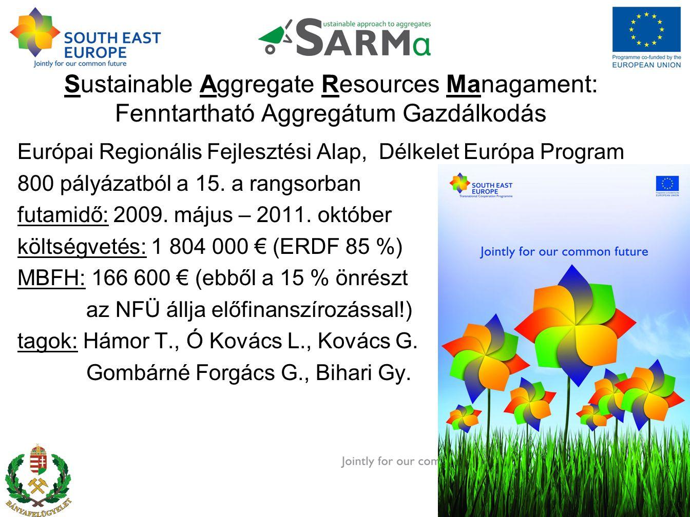 Sustainable Aggregate Resources Managament: Fenntartható Aggregátum Gazdálkodás Európai Regionális Fejlesztési Alap, Délkelet Európa Program 800 pályázatból a 15.