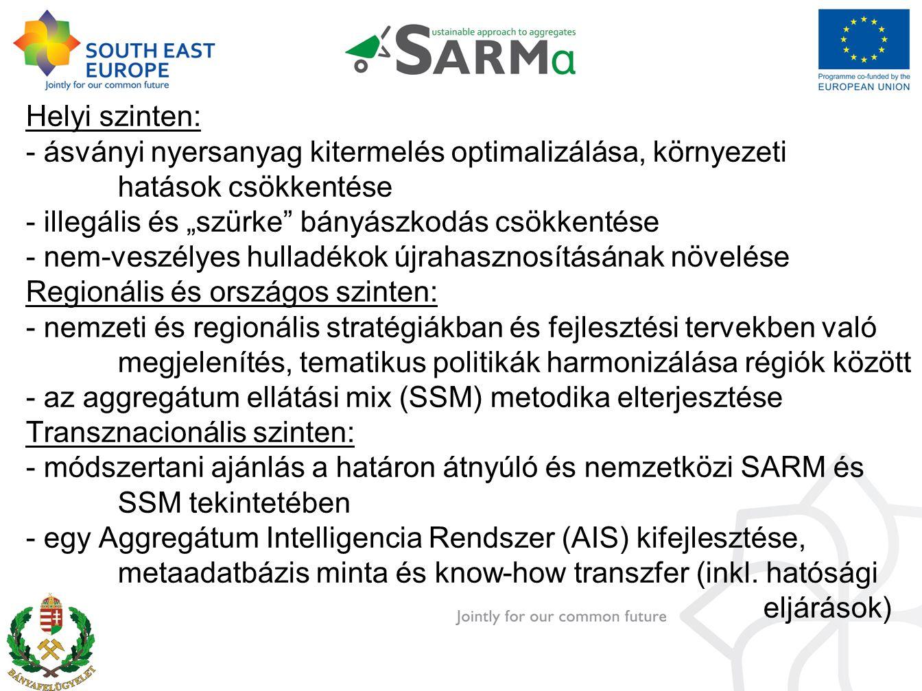 """Helyi szinten: - ásványi nyersanyag kitermelés optimalizálása, környezeti hatások csökkentése - illegális és """"szürke bányászkodás csökkentése - nem-veszélyes hulladékok újrahasznosításának növelése Regionális és országos szinten: - nemzeti és regionális stratégiákban és fejlesztési tervekben való megjelenítés, tematikus politikák harmonizálása régiók között - az aggregátum ellátási mix (SSM) metodika elterjesztése Transznacionális szinten: - módszertani ajánlás a határon átnyúló és nemzetközi SARM és SSM tekintetében - egy Aggregátum Intelligencia Rendszer (AIS) kifejlesztése, metaadatbázis minta és know-how transzfer (inkl."""