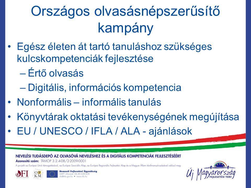 Országos olvasásnépszerűsítő kampány Egész életen át tartó tanuláshoz szükséges kulcskompetenciák fejlesztése –Értő olvasás –Digitális, információs kompetencia Nonformális – informális tanulás Könyvtárak oktatási tevékenységének megújítása EU / UNESCO / IFLA / ALA - ajánlások