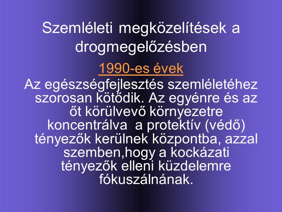 Szemléleti megközelítések a drogmegelőzésben 1990-es évek Az egészségfejlesztés szemléletéhez szorosan kötődik. Az egyénre és az őt körülvevő környeze