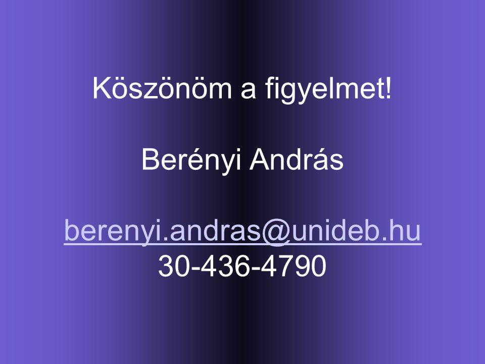 Köszönöm a figyelmet! Berényi András berenyi.andras@unideb.hu 30-436-4790 berenyi.andras@unideb.hu