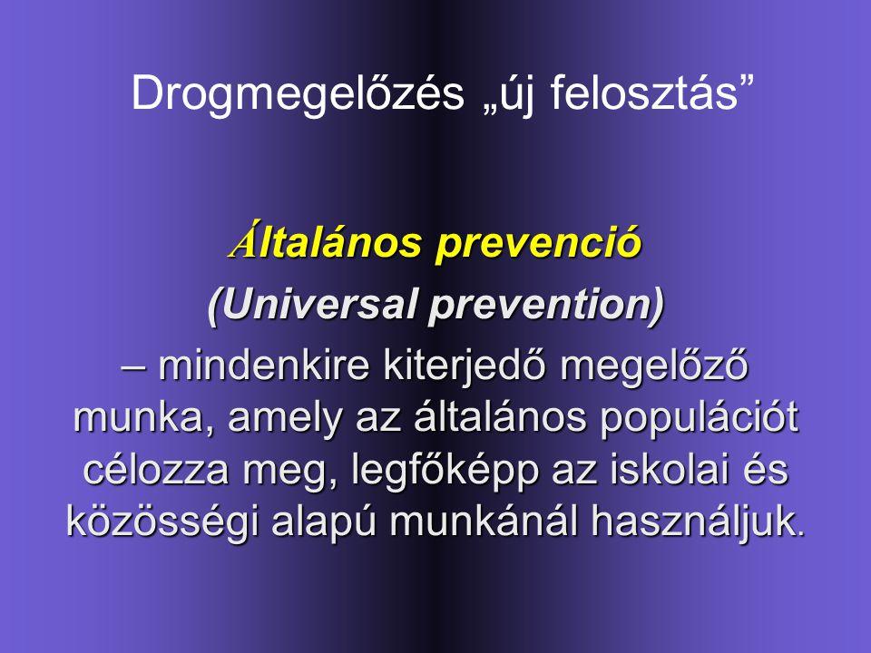 """Drogmegelőzés """"új felosztás"""" Á ltalános prevenció (Universal prevention) – mindenkire kiterjedő megelőző munka, amely az általános populációt célozza"""