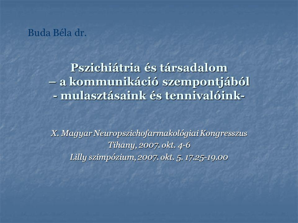 Pszichiátria és társadalom – a kommunikáció szempontjából - mulasztásaink és tennivalóink- X. Magyar Neuropszichofarmakológiai Kongresszus Tihany, 200
