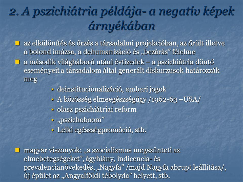 2. A pszichiátria példája- a negatív képek árnyékában az elkülönítés és őrzés a társadalmi projekcióban, az őrült illetve a bolond imázsa, a dehumaniz