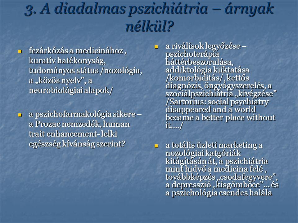 """3. A diadalmas pszichiátria – árnyak nélkül? fezárkózás a medicinához, kuratív hatékonyság, tudományos státus /nozológia, a """"közös nyelv"""", a neurobiol"""