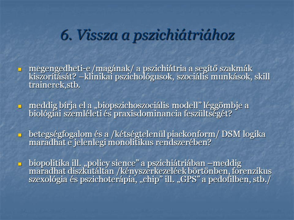 6. Vissza a pszichiátriához megengedheti-e /magának/ a pszichiátria a segítő szakmák kiszorítását? –klinikai pszichológusok, szociális munkások, skill