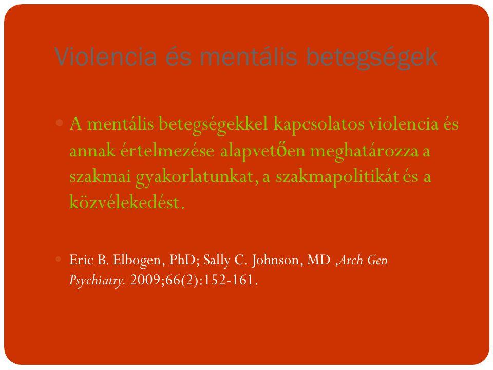 Violencia és mentális betegségek A mentális betegségekkel kapcsolatos violencia és annak értelmezése alapvet ő en meghatározza a szakmai gyakorlatunka